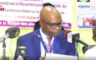 Le Président de la CNDH, Mr Aguibou BOUARE lors de la conférence débat sur la problématique de l'esclavagisme au Mali